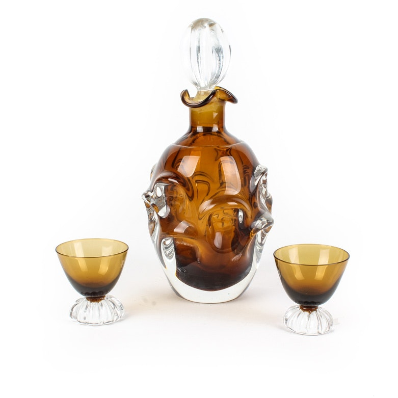Vintage Glass Decanter and Two Glasses