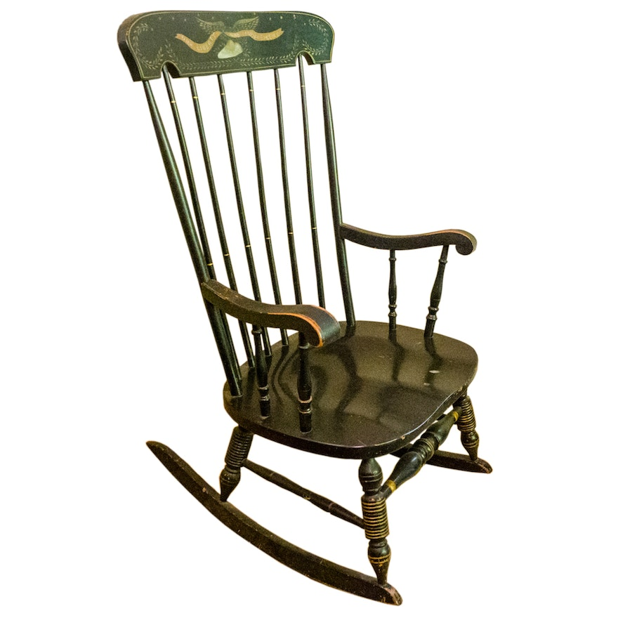 Sensational Vintage Green Windsor Style Rocking Chair Ocoug Best Dining Table And Chair Ideas Images Ocougorg
