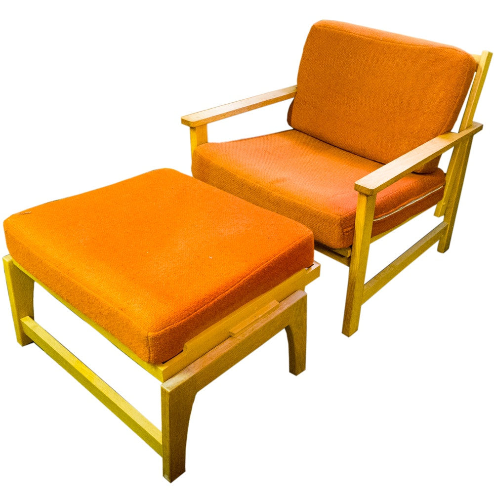 Mid Century Modern Teak Easy Chair and Ottoman