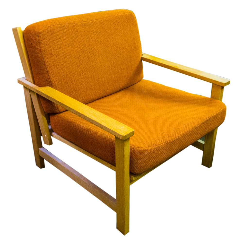 Mid Century Modern-Style Oak Chair with Burnt Orange Cushions