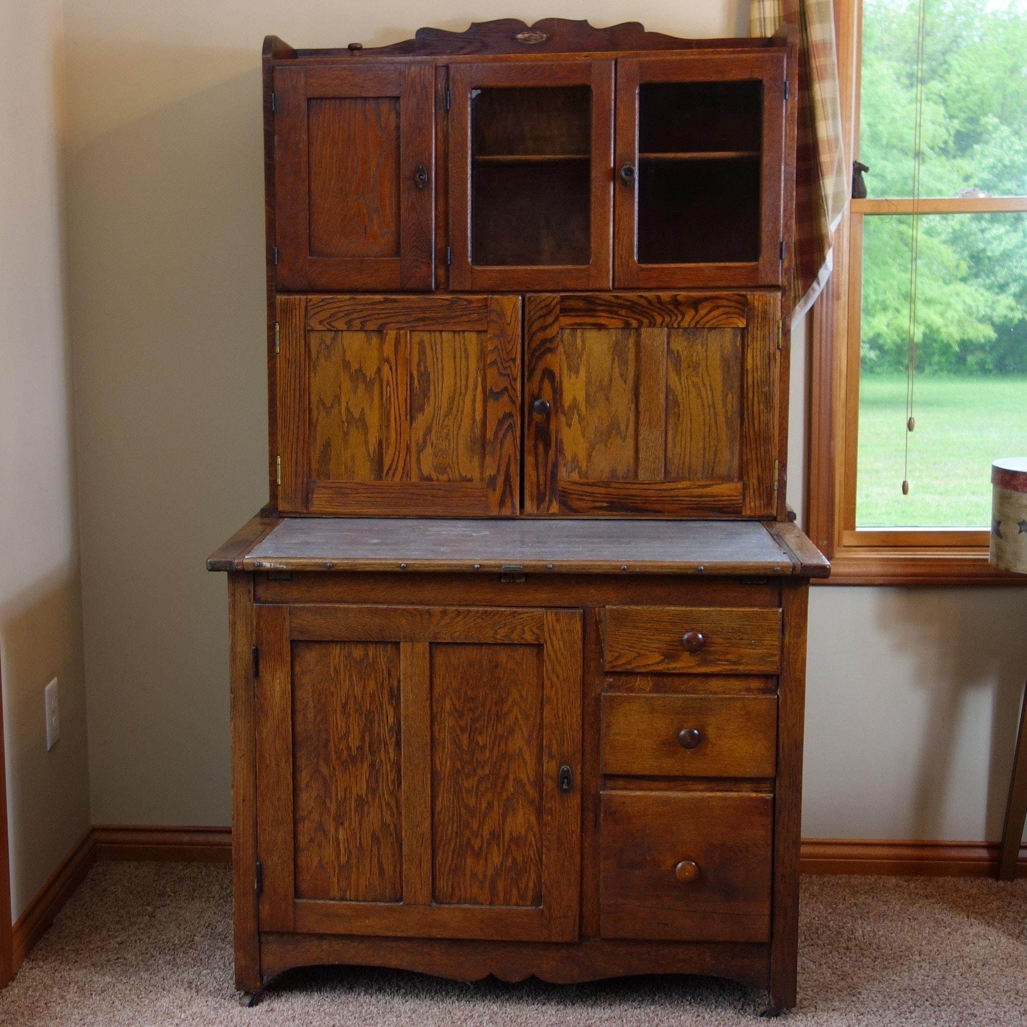 Antique Oak Hoosier Cabinet by  The Hoosier Mfg. ... & Antique Oak Hoosier Cabinet by