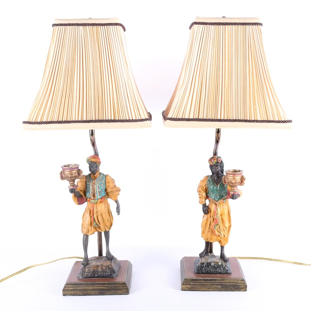 Male and Female Blackamoor Parlor Lamps