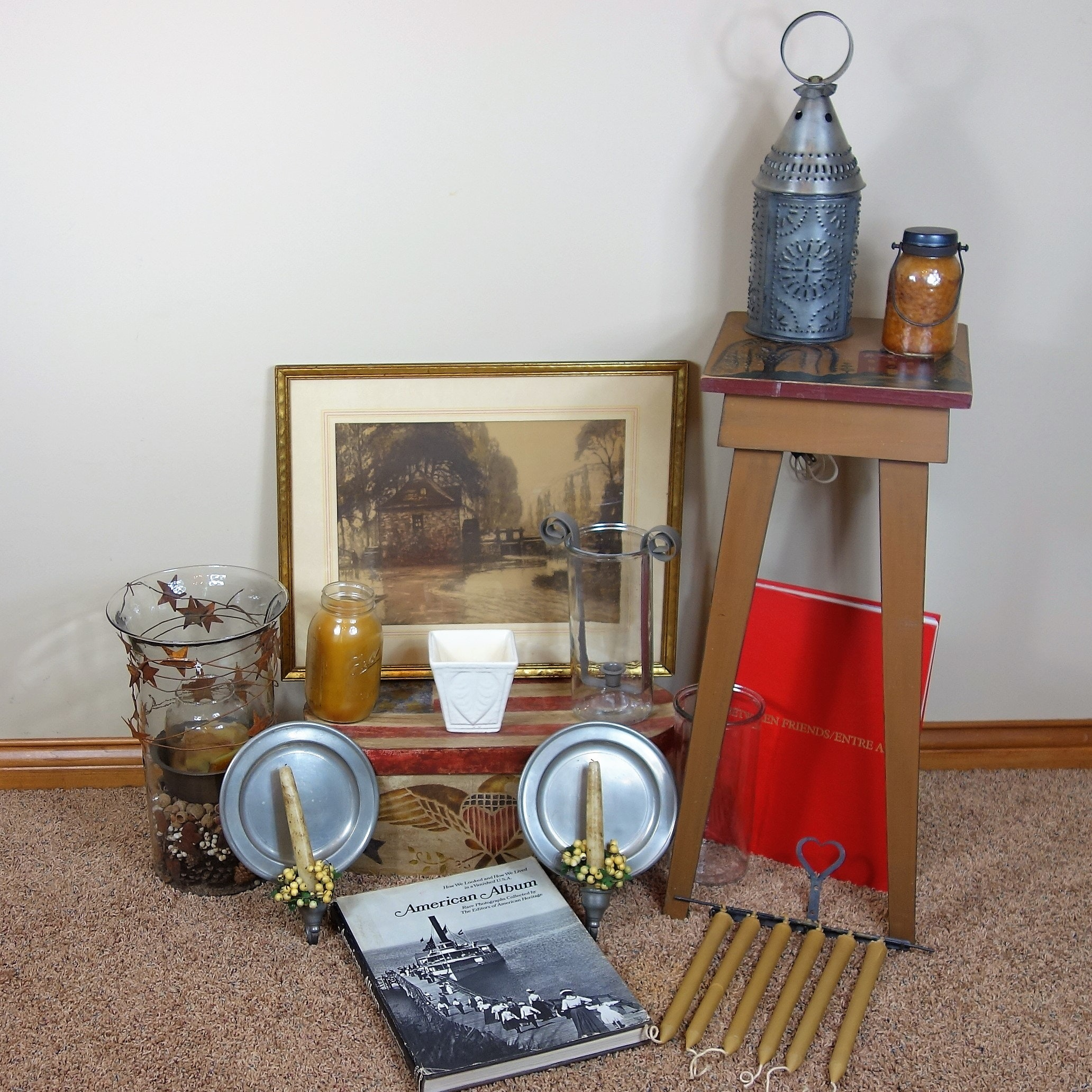 Hand Painted Wood Stool, Books, Accent Light and More