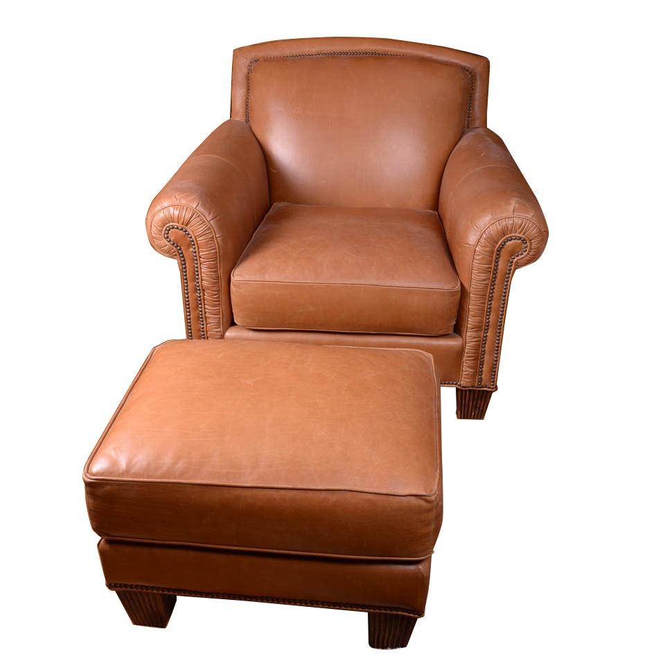 Pearson Cognac Leather Armchair and Ottoman