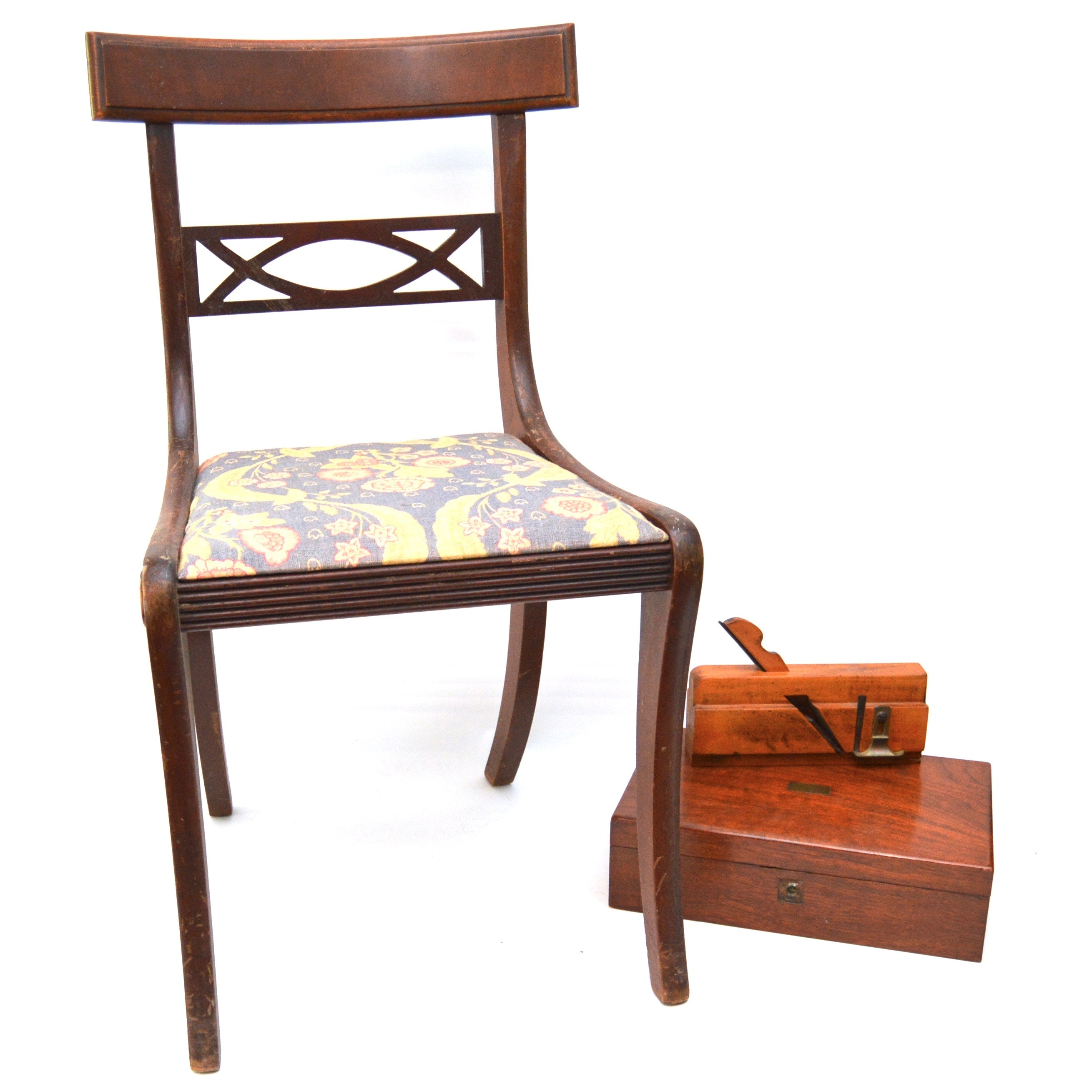 Antique Lap Desk With Vintage Side Chair And Wood Plane Ebth