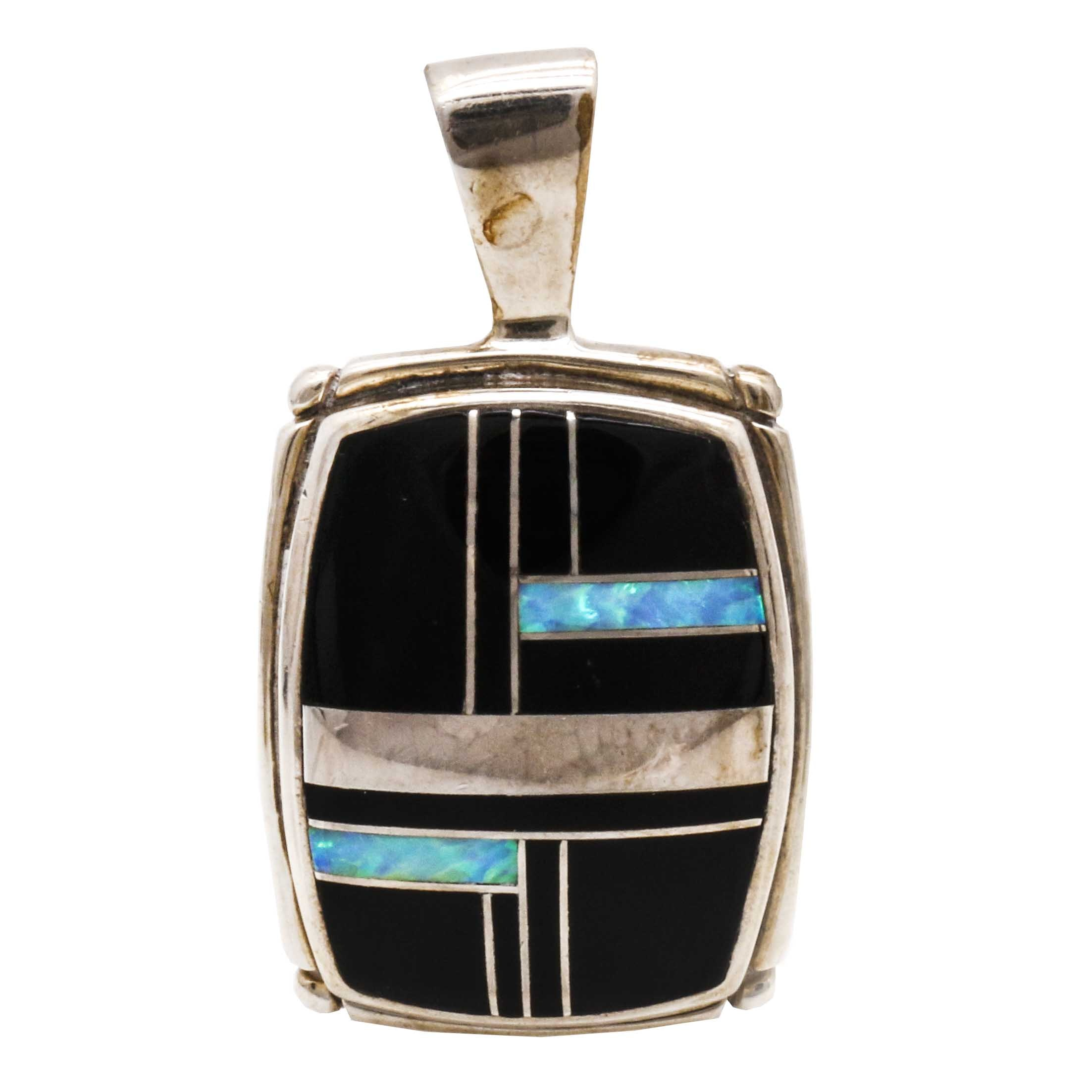 Sterling Silver Inlay Pendant by Stoneweaver Sterling Jewelry