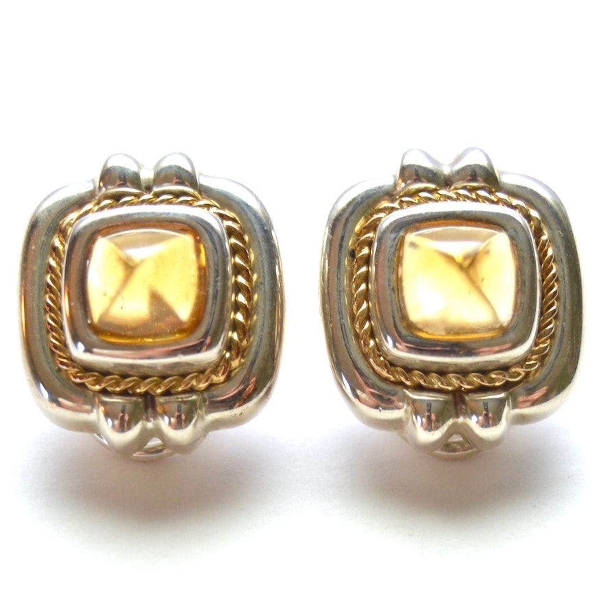 Tiffany Co 18k Gold And Sterling Citrine Earrings