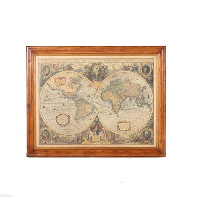 Vintage maps for sale antique maps for sale framed map auction framed lithograph of an old world map gumiabroncs Image collections
