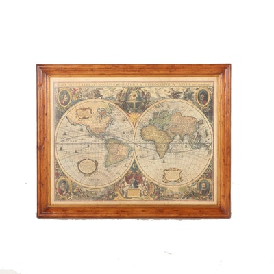 Vintage maps for sale antique maps for sale framed map auction framed lithograph of an old world map gumiabroncs Gallery