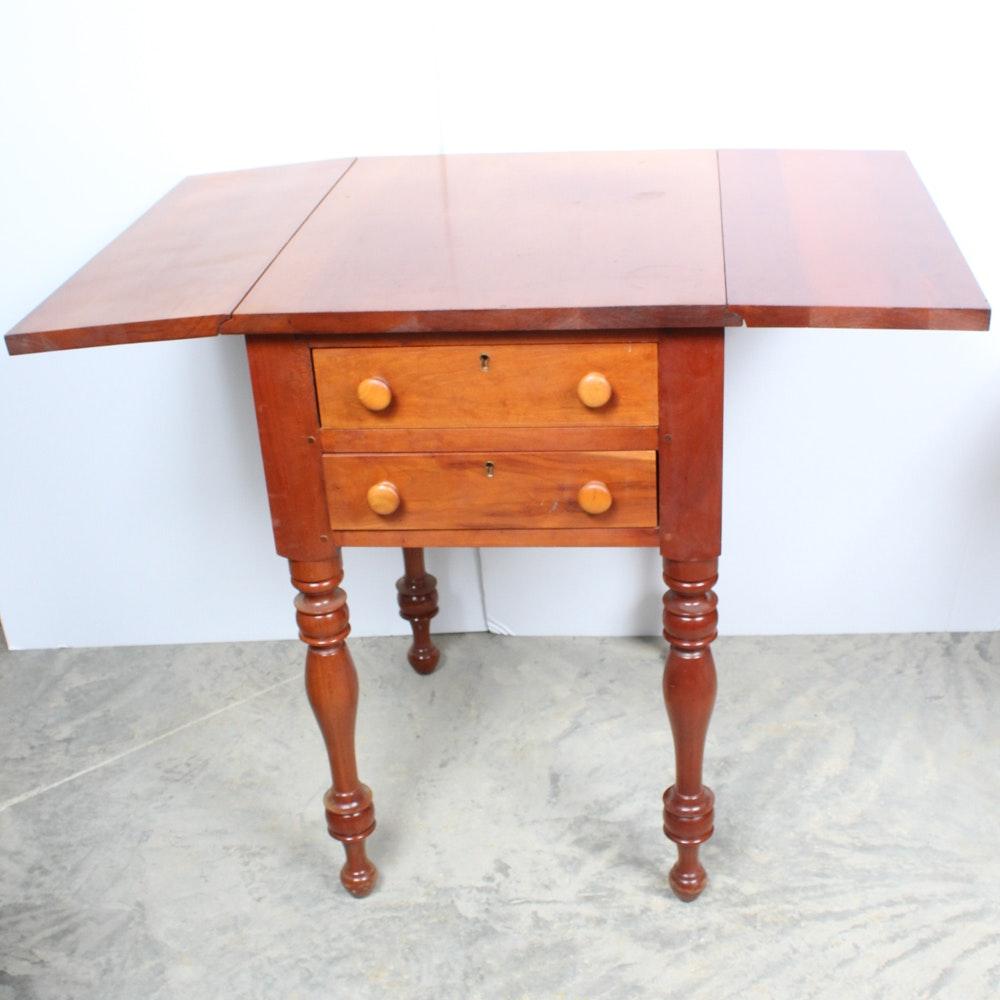 Vintage Cherry Wood Drop Leaf Side Table ...