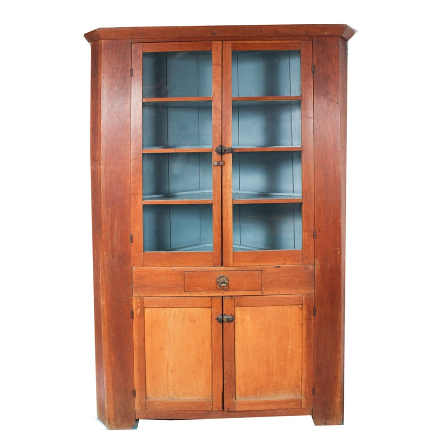 Antique Southern Cherry Corner China Cupboard ... - Antique Southern Cherry Corner China Cupboard : EBTH