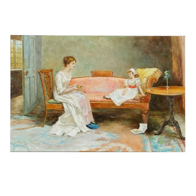 E. Bonington Oil Painting on Canvas Impressionistic Style
