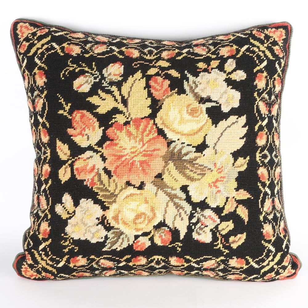 Needlepoint Pillow with Silk Backing