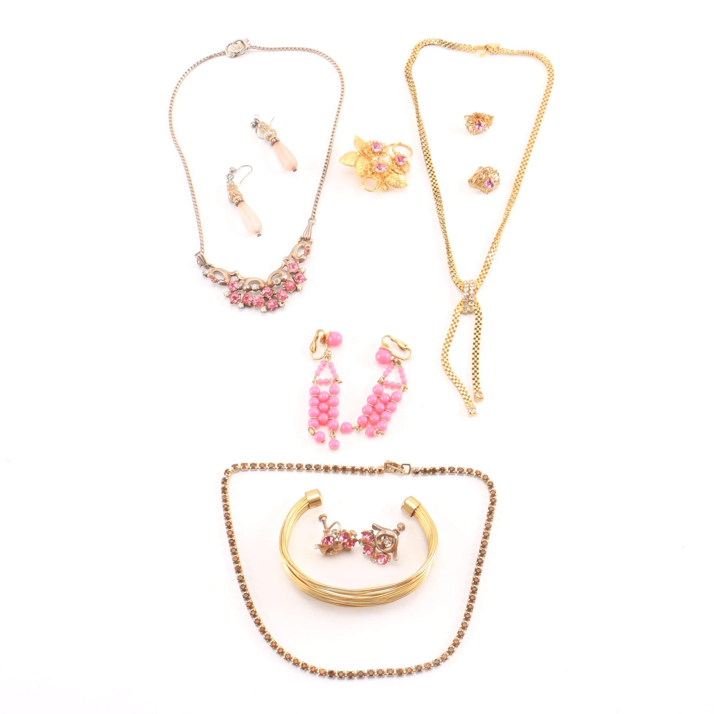 Vintage Gold Tone Rhinestone Jewelry