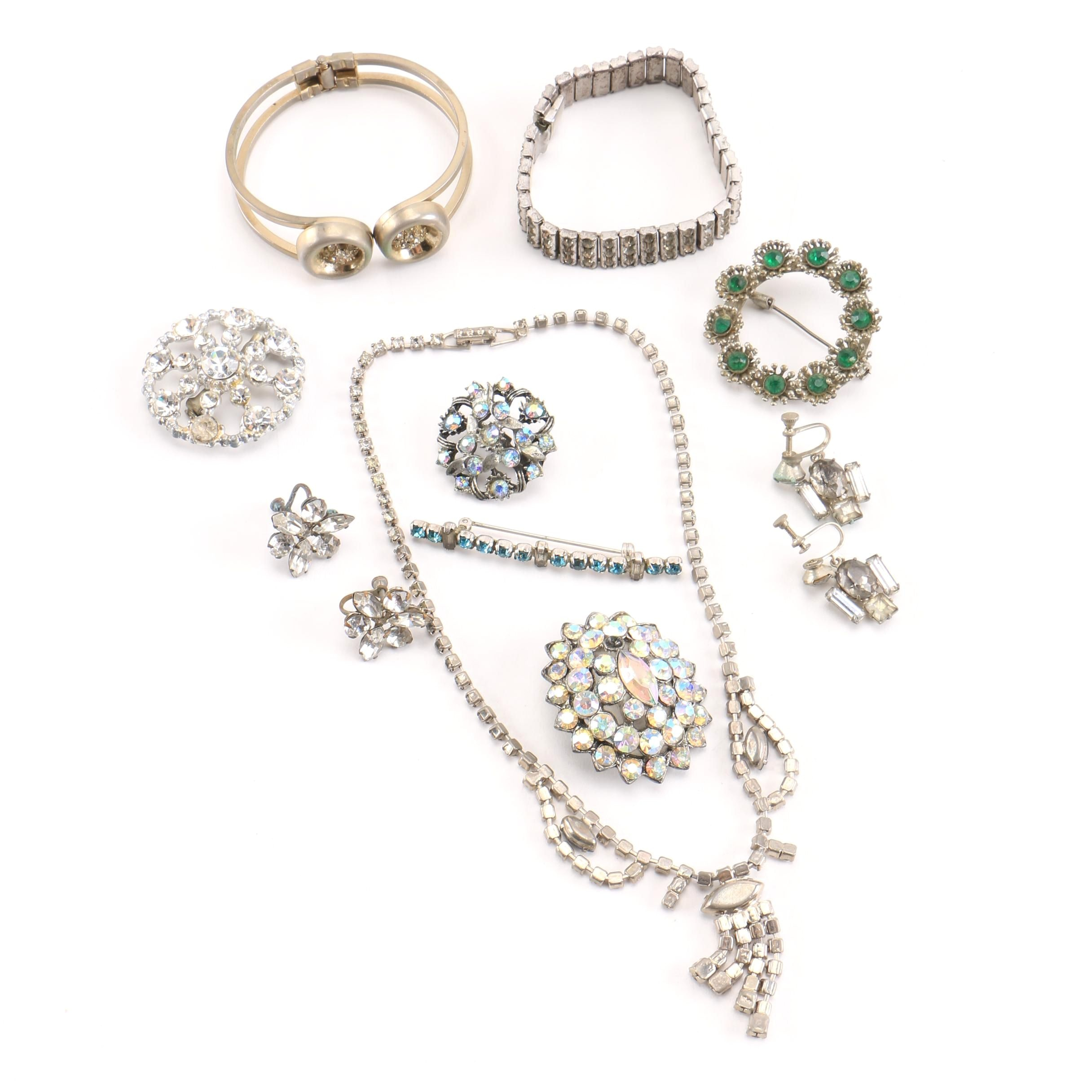 Assorted Vintage Rhinestone Jewelry