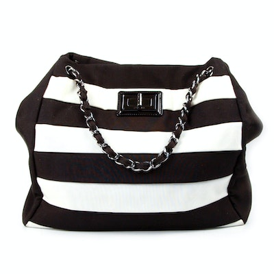 4efbba99617 Chanel Striped Canvas Tote with Box