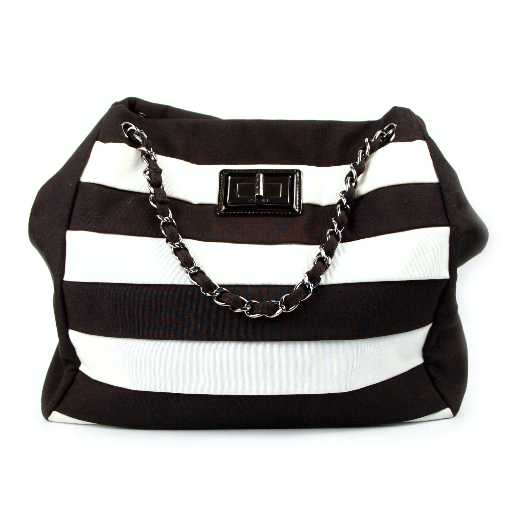Chanel Striped Canvas Tote with Box