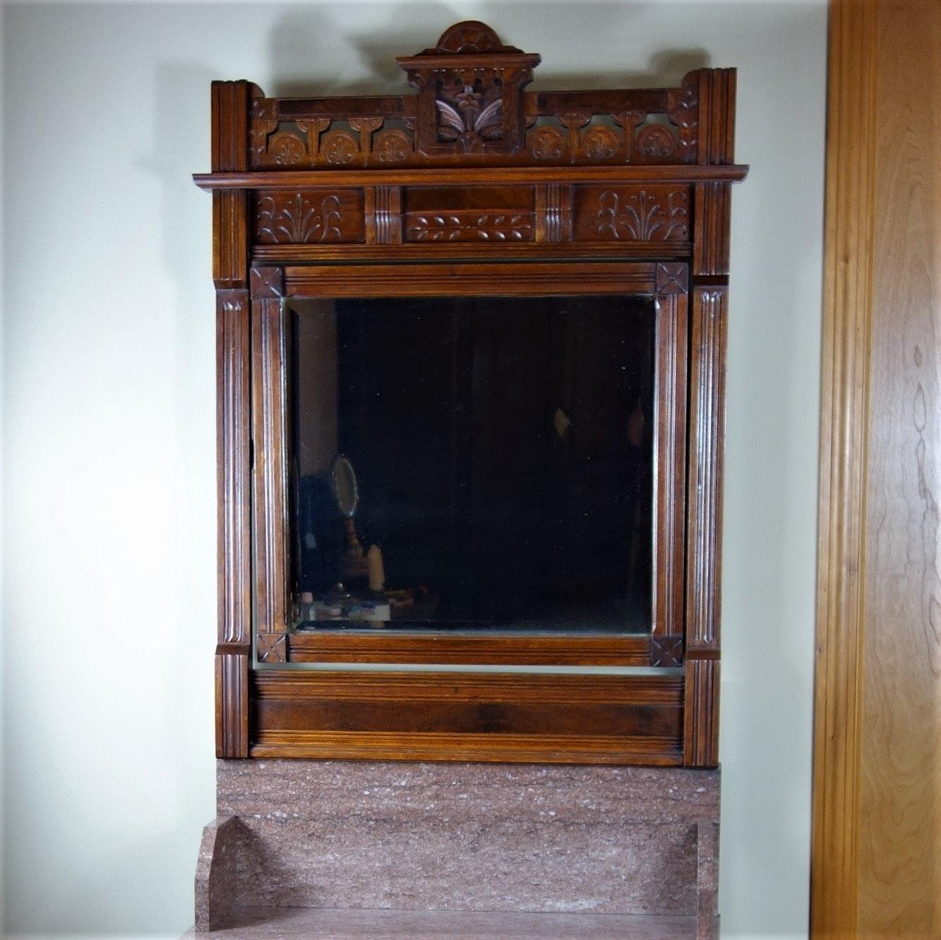 Victorian Eastlake Marble Top Dresser with Swing Mirror