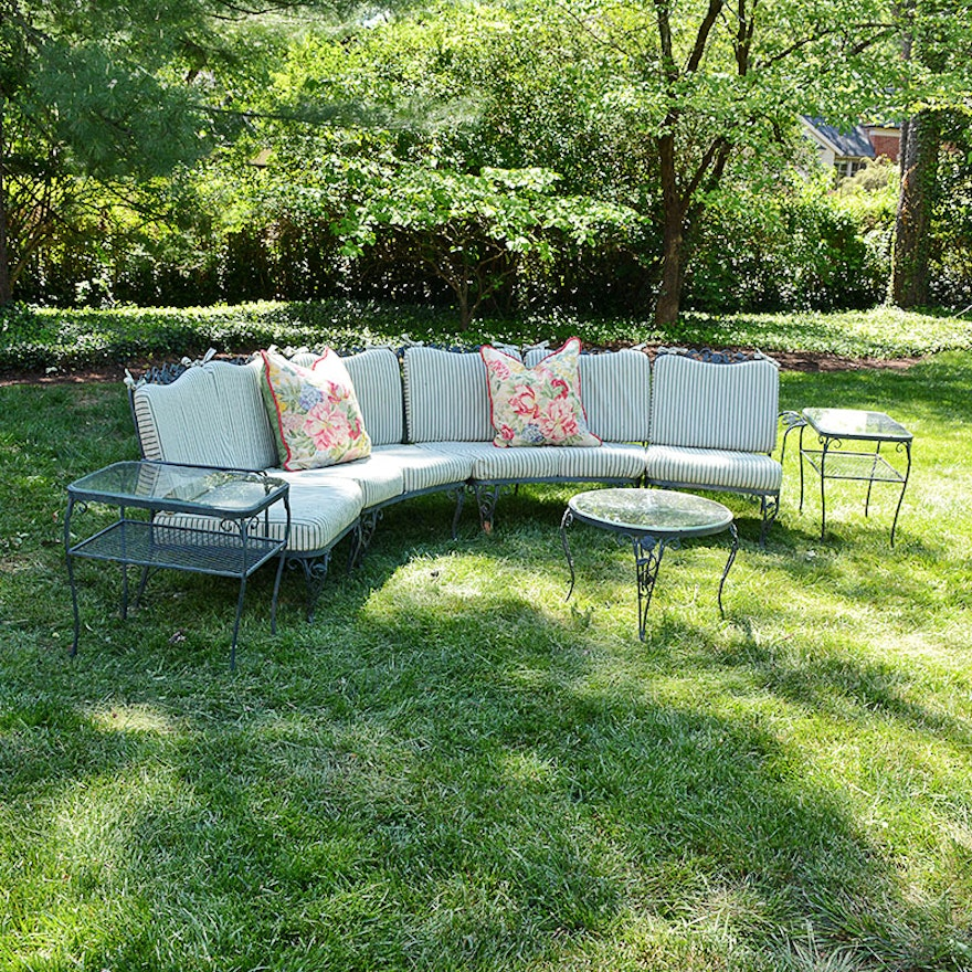Woodard Chantilly Rose Patio Furniture With Brunschwig And Flis Cushions Ebth