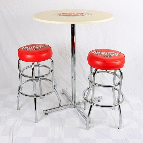 Delightful Coca Cola Bar Table And Stools ...