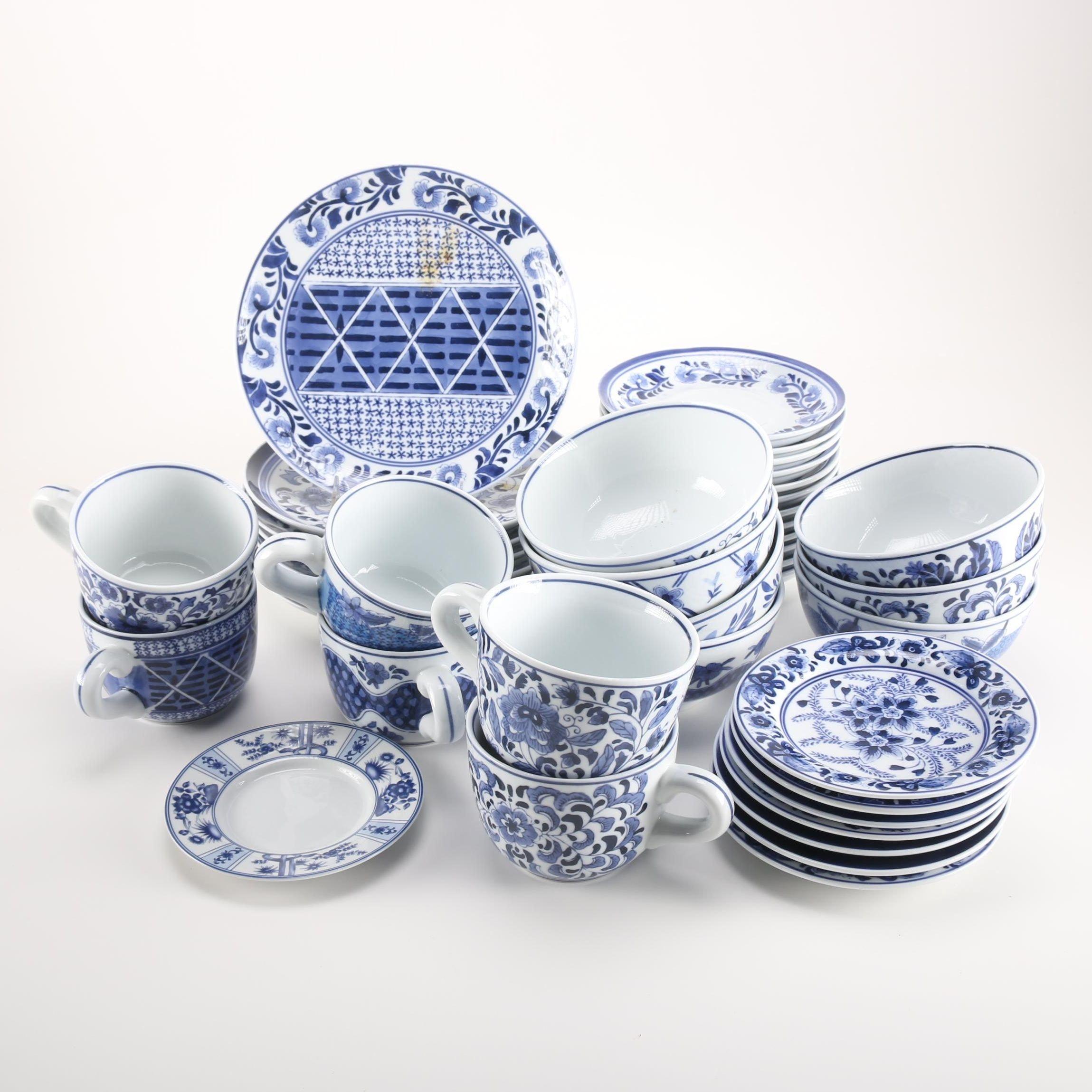 Blue and White Ceramic Dinnerware Featuring Blue Heron