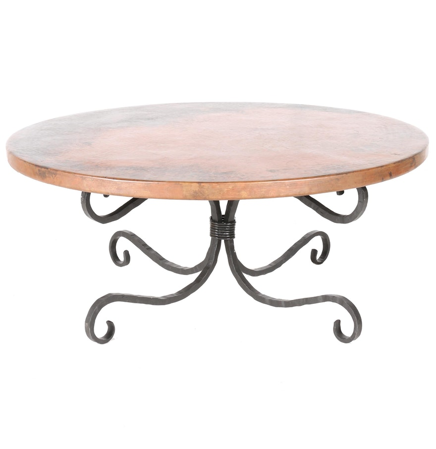 Round dimpled copper coffee table on wrought iron base ebth round dimpled copper coffee table on wrought iron base geotapseo Images