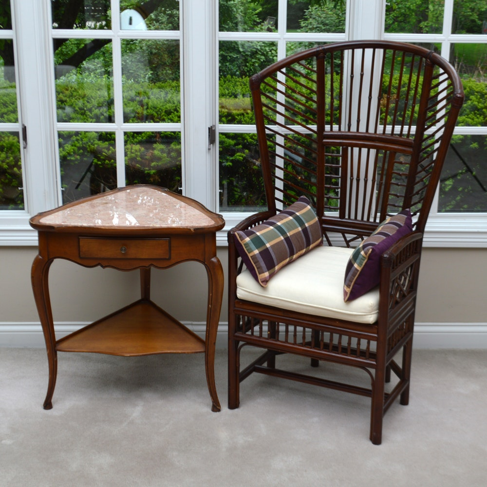 French Provincial Style Marble Top Table and Bamboo Chair