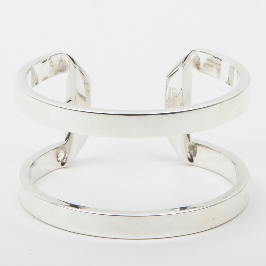 200fbc684d5f Claire Deve for Christofle Sterling Silver Double Band Cuff   EBTH
