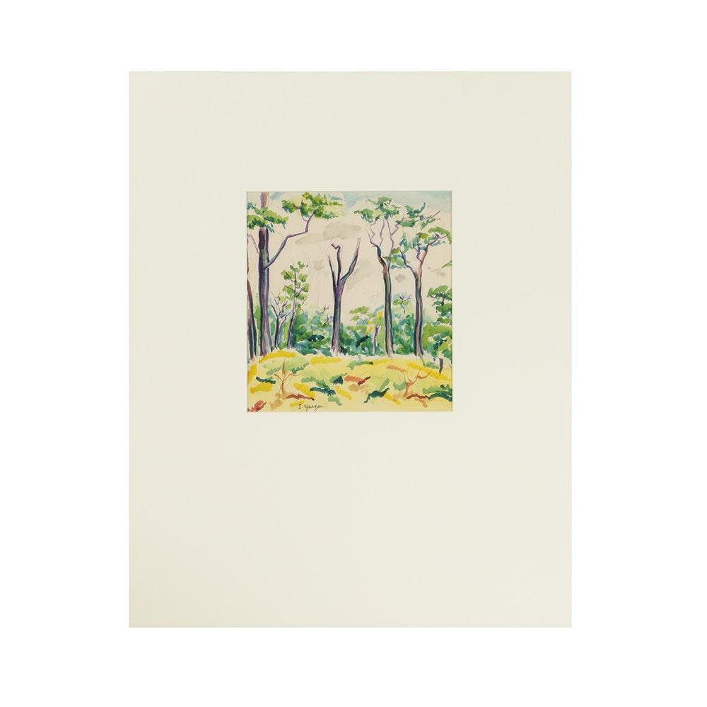 Edgar Yaeger Watercolor on Paper Forest Landcsape