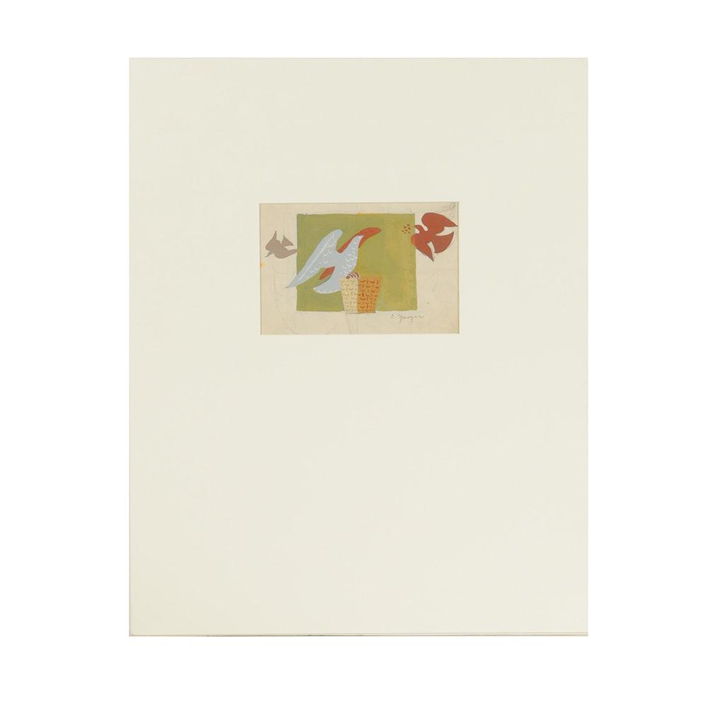 """Edgar Yaeger Gouache Painting on Paper """"3 Doves"""""""