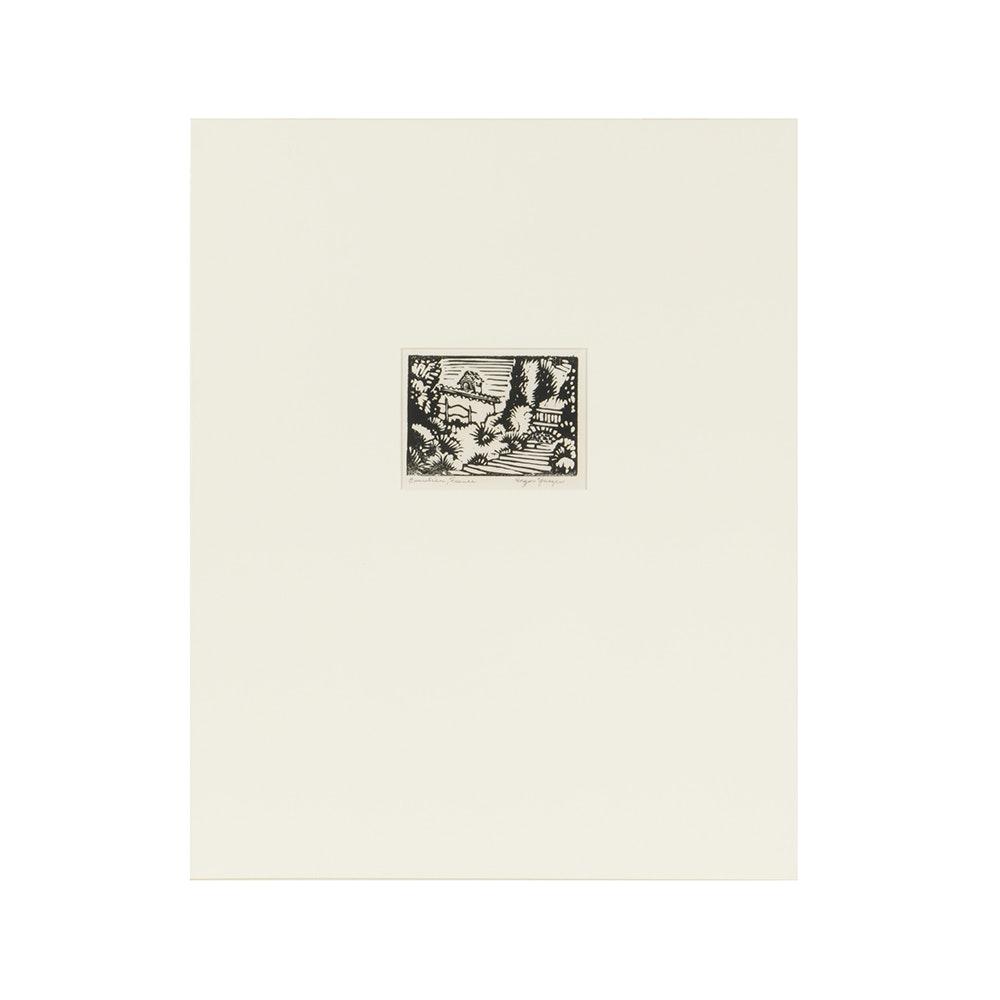 "Edgar Yaeger Woodblock Print ""Beaulieu, France"""