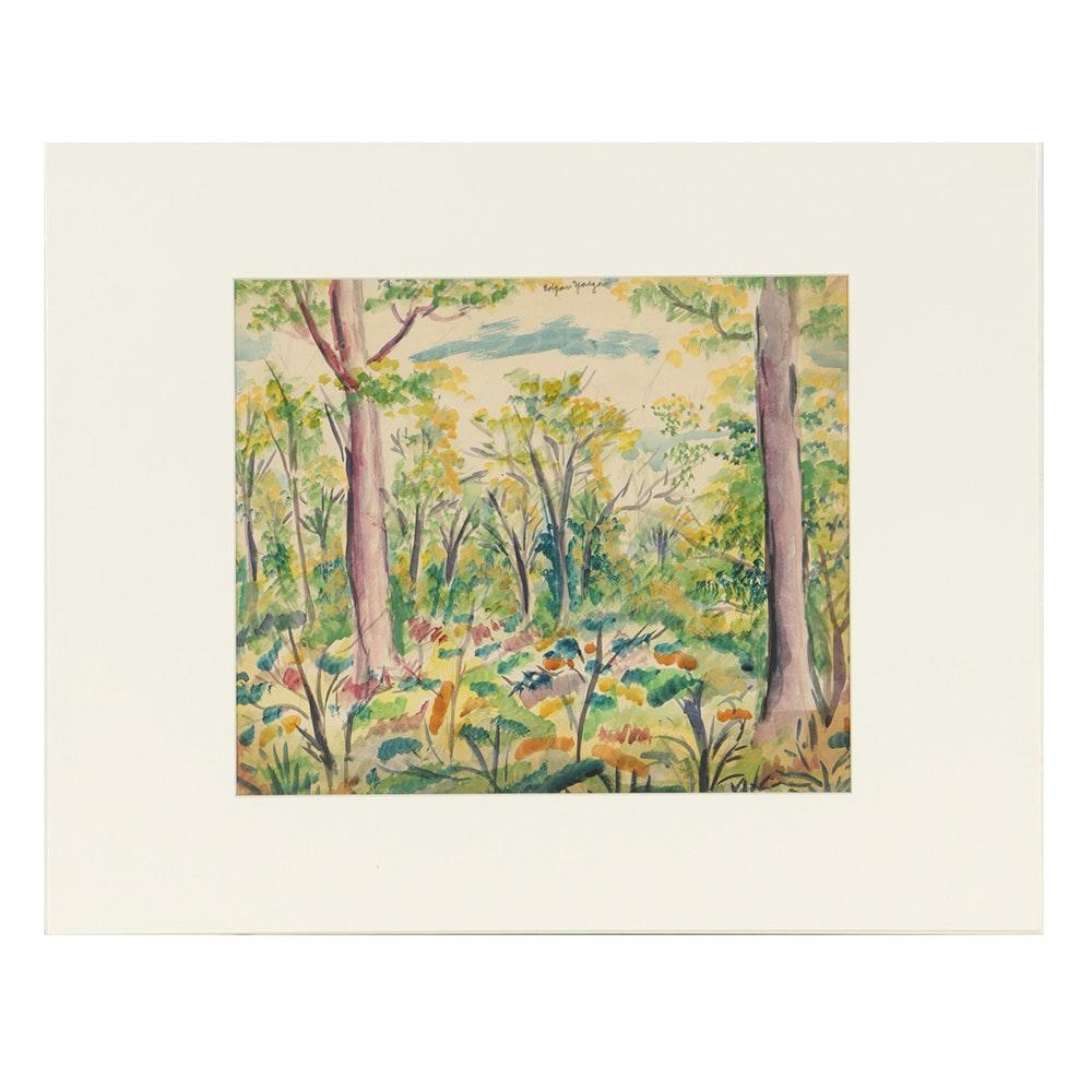 """Edgar Yaeger Original Watercolor Painting """"Blooming Forest"""""""