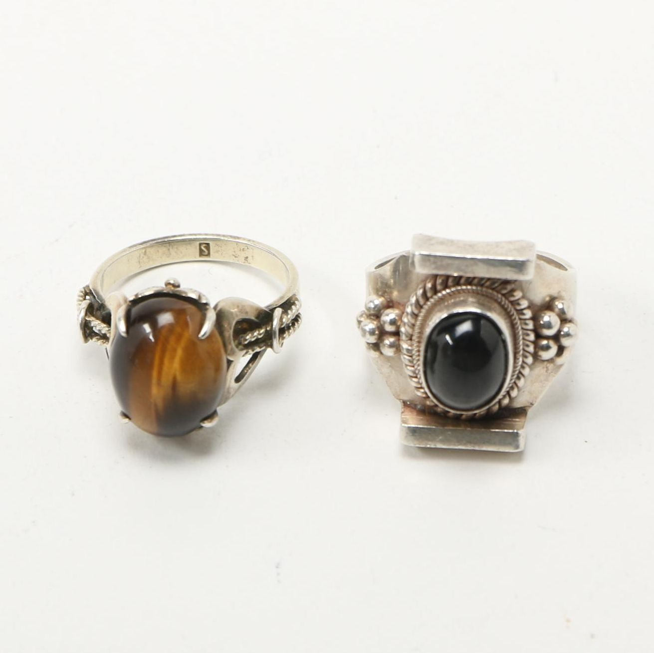 Sterling Silver Rings With Tiger's Eye and Obsidian