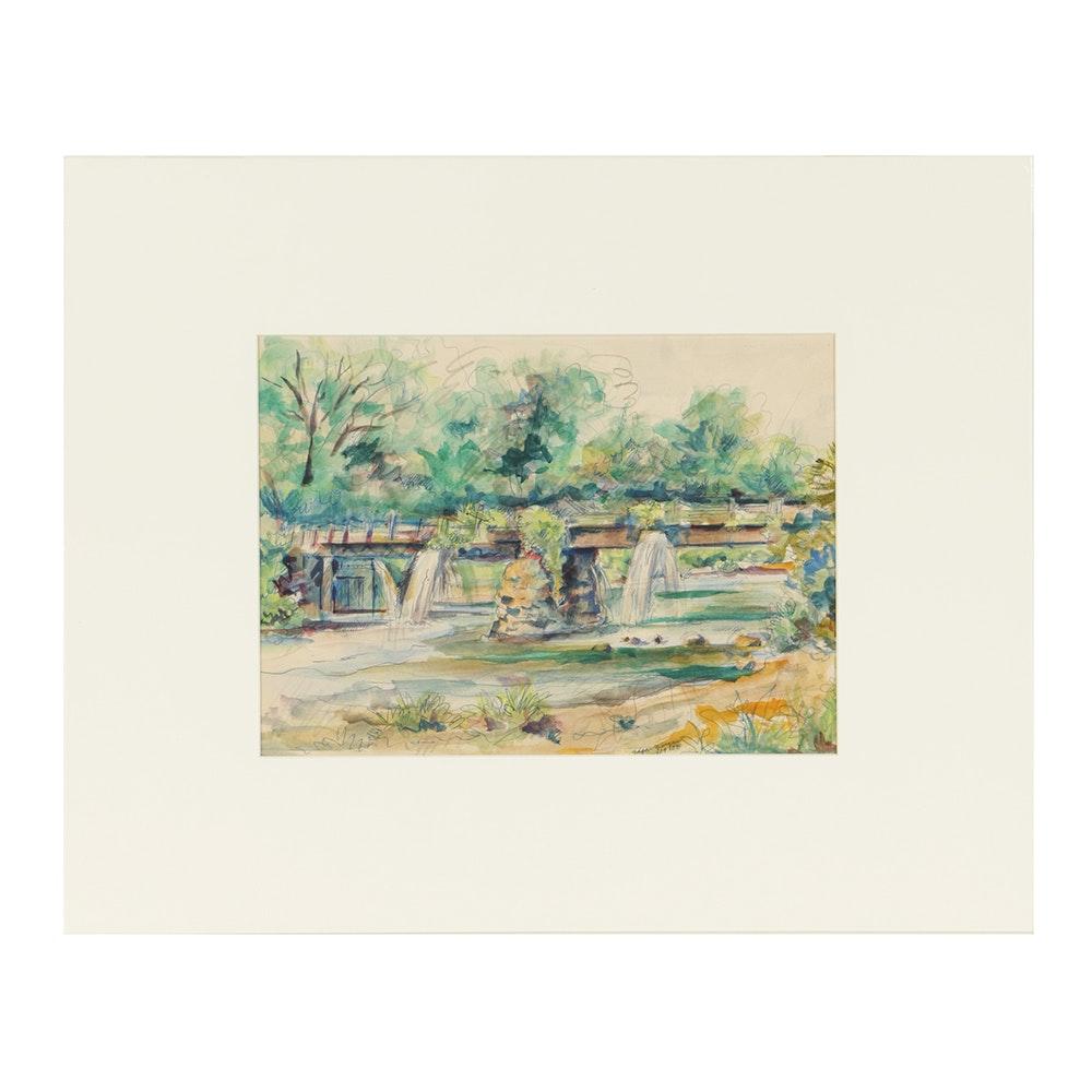 "Edgar Yaeger Watercolor and Ink Painting on Paper ""Bridge"""