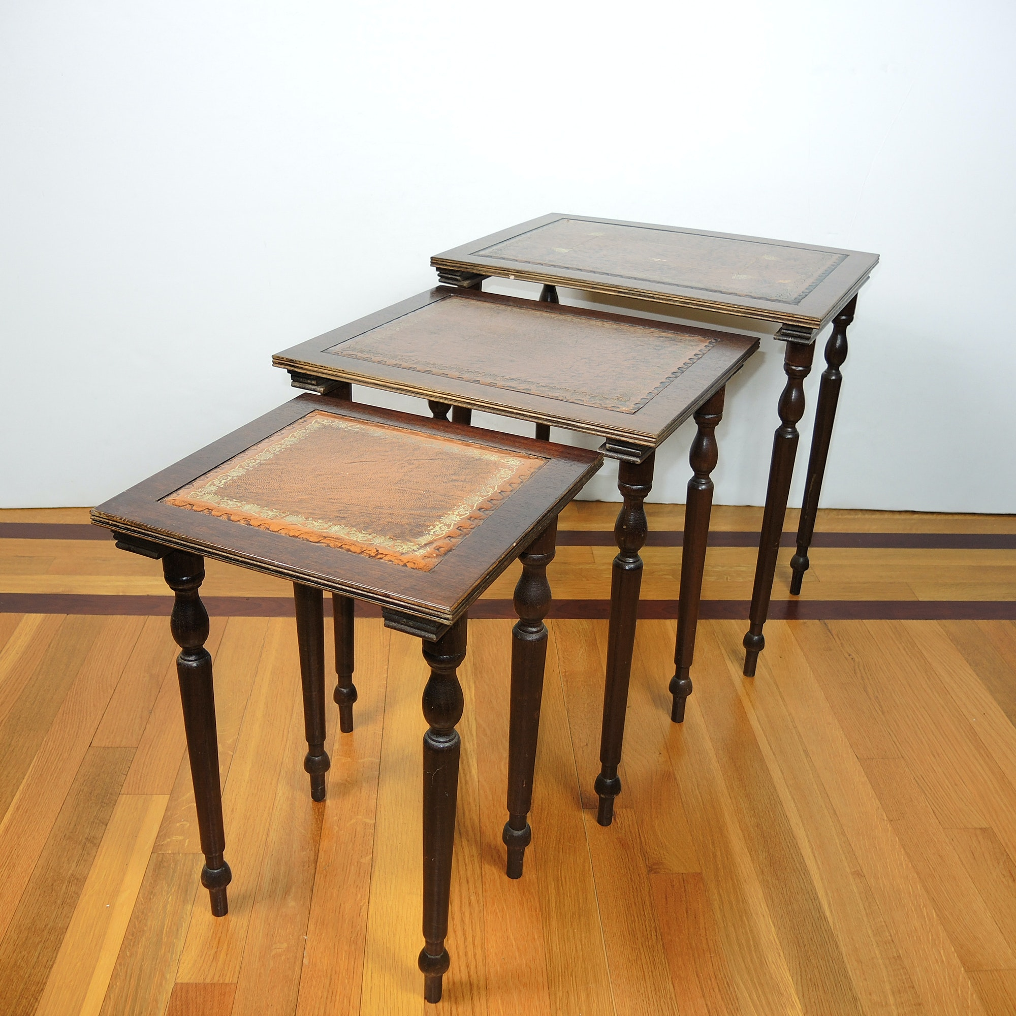 Vintage Leather Top Nesting Tables