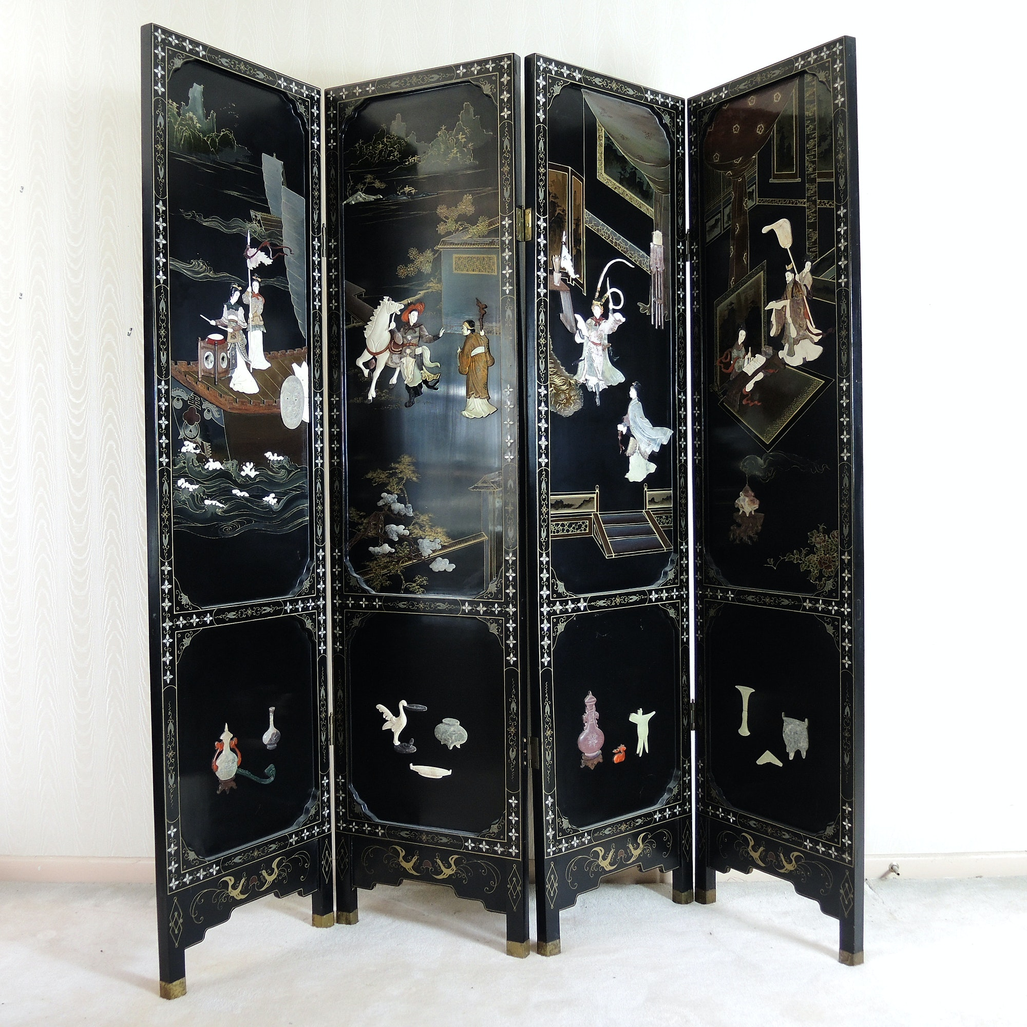 Chinese Folding Screen with Carved Soapstone Scenes