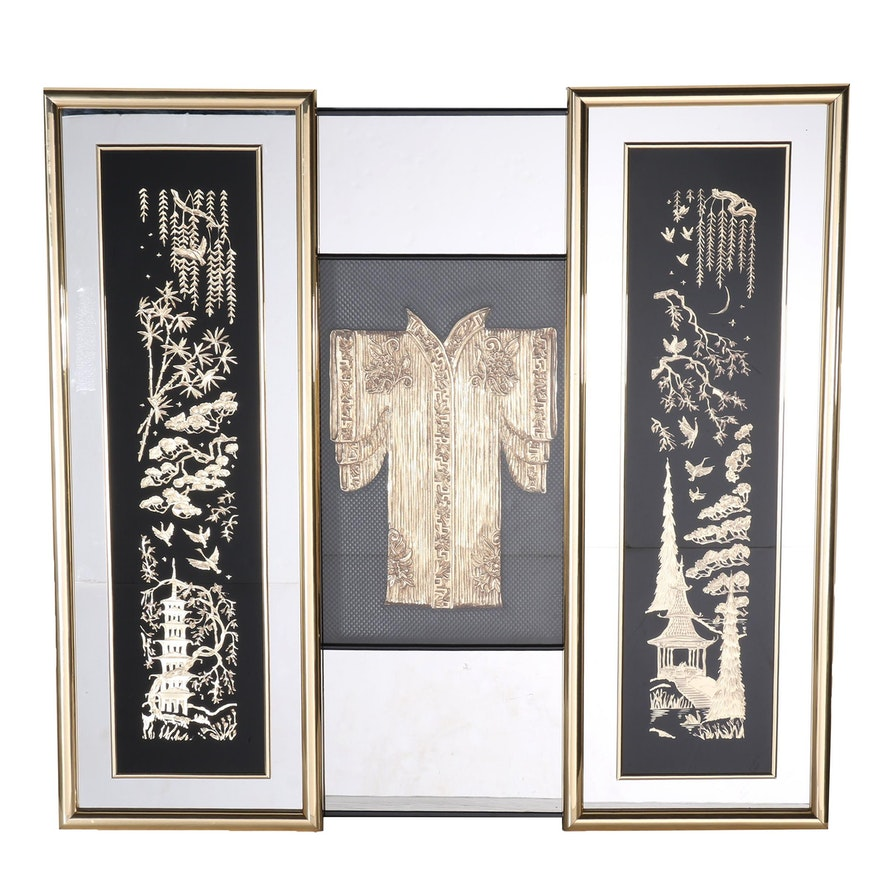 chinese inspired carved wooden scenes in mirrored frames - Mirrored Frames