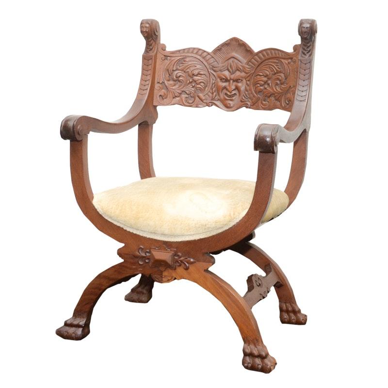 Circa 1900 Renaissance Style Curule-Form Armchair