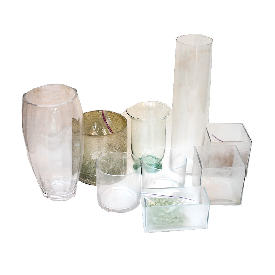 Assorted Glass Vases And Marbles Ebth