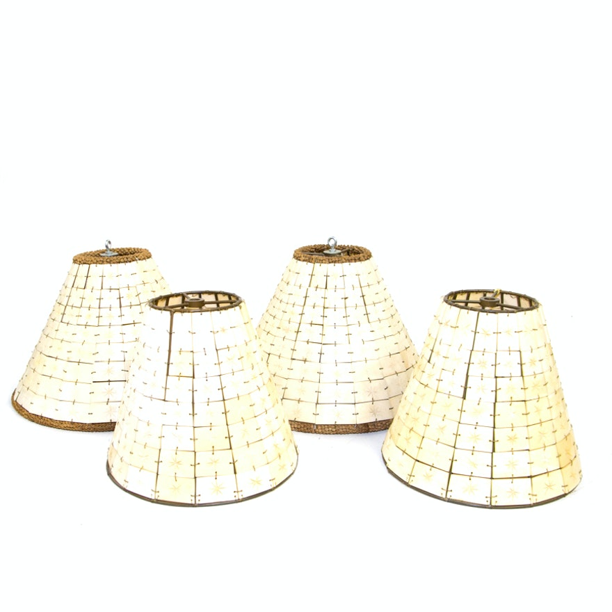 Grouping Of Tiled Carved Bone Lampshades Ebth