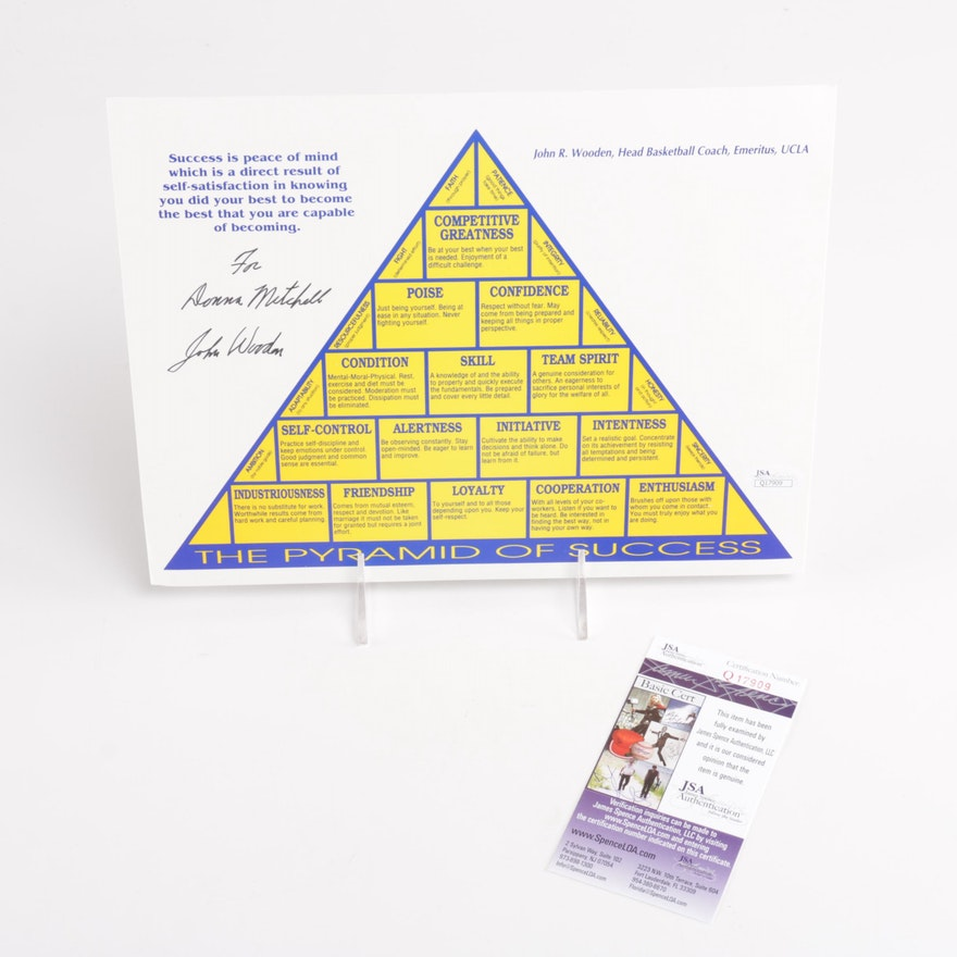 John Wooden Autographed Pyramid Of Success Poster