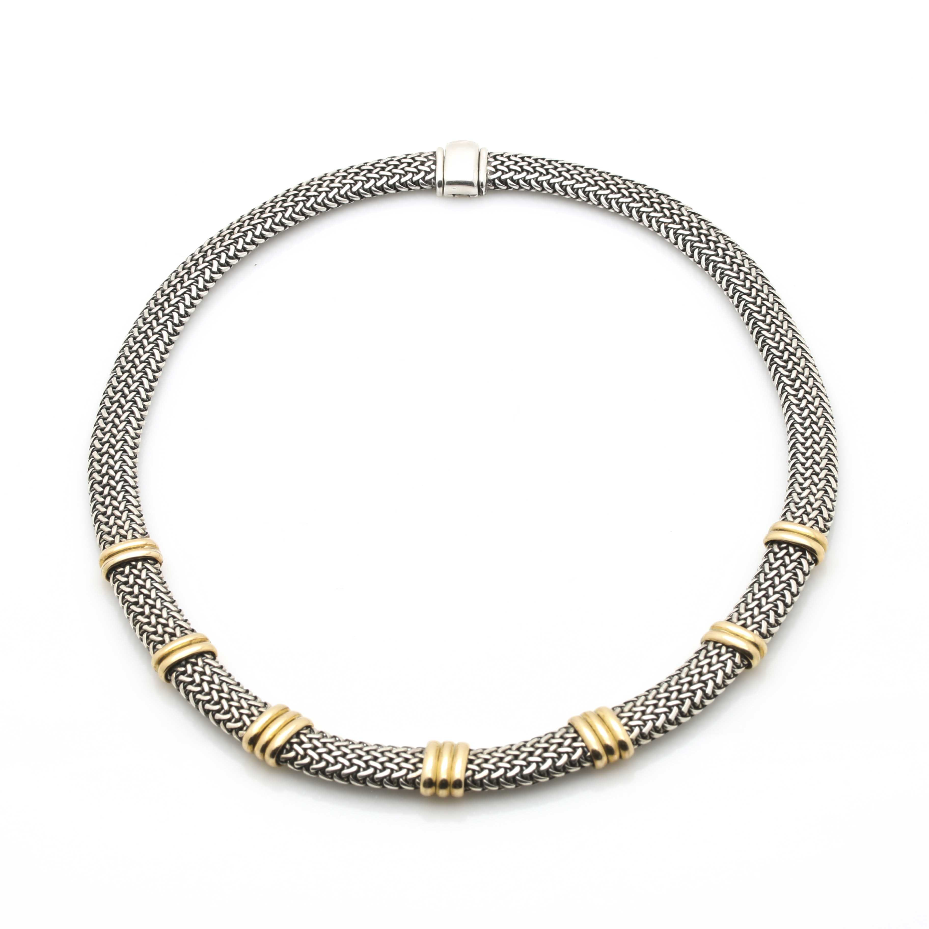 Sterling Silver and 18K Yellow Gold Foxtail Mesh Necklace