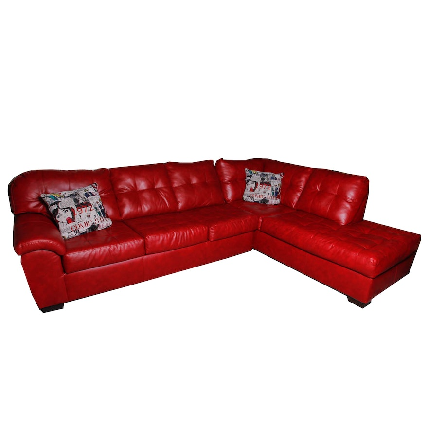 Contemporary Red Faux-Leather Sectional Sleeper Sofa