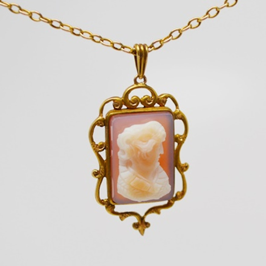 14k yellow gold cameo pendant and 10k yellow gold necklace ebth 14k yellow gold cameo pendant and 10k yellow gold necklace aloadofball Images