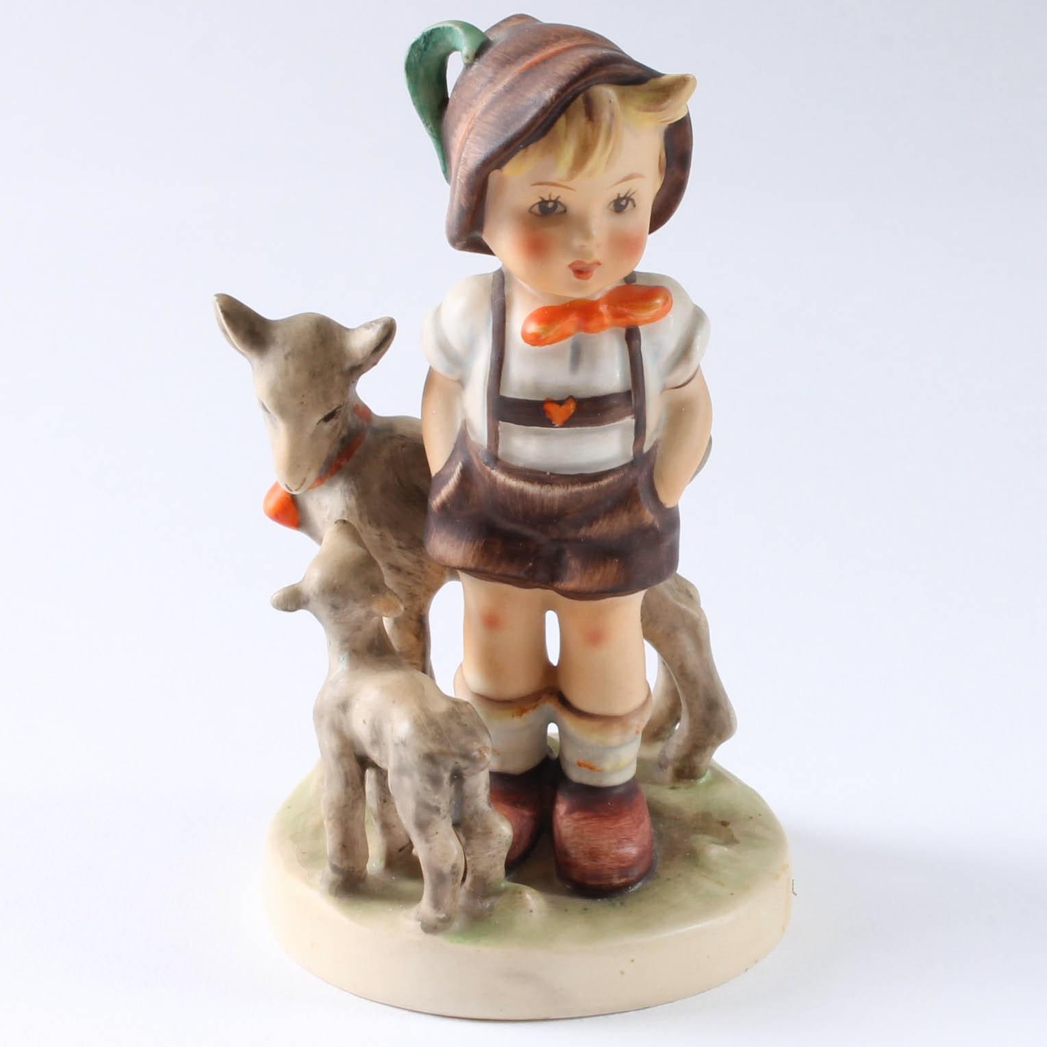 Boy With Goats Vintage Goebel Hummel Figurine