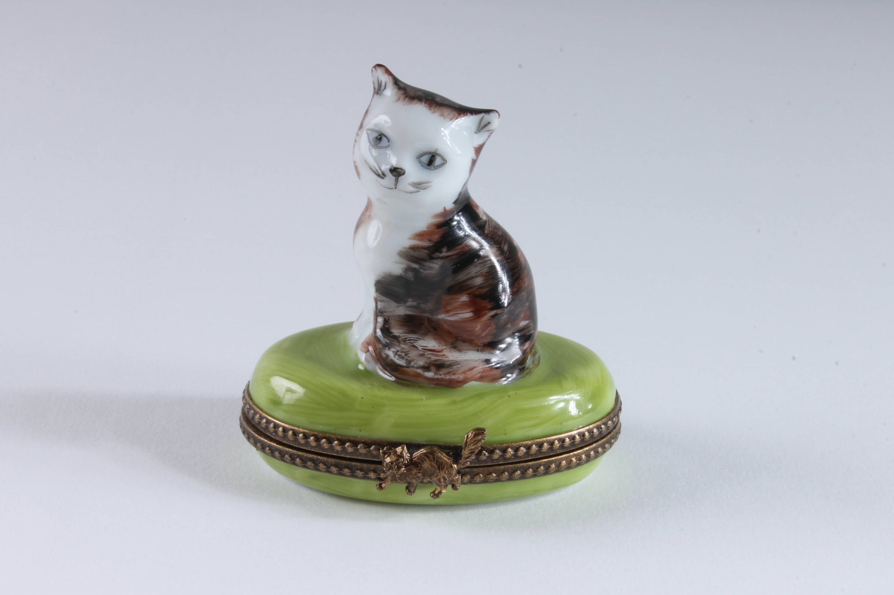Limoges Hand-Painted Trinket Box with Cat