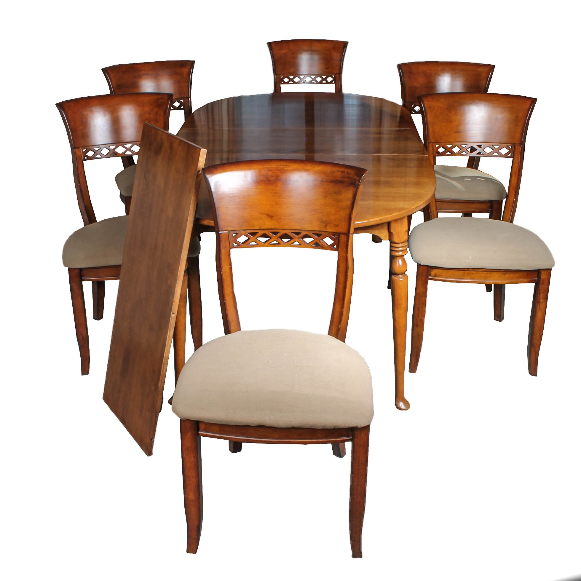 Traditional Maple Dining Table and Six Chairs by Ethan Allen