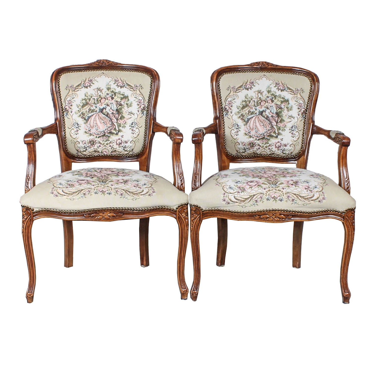 Pair of Vintage Louis XV Style Upholstered Armchairs