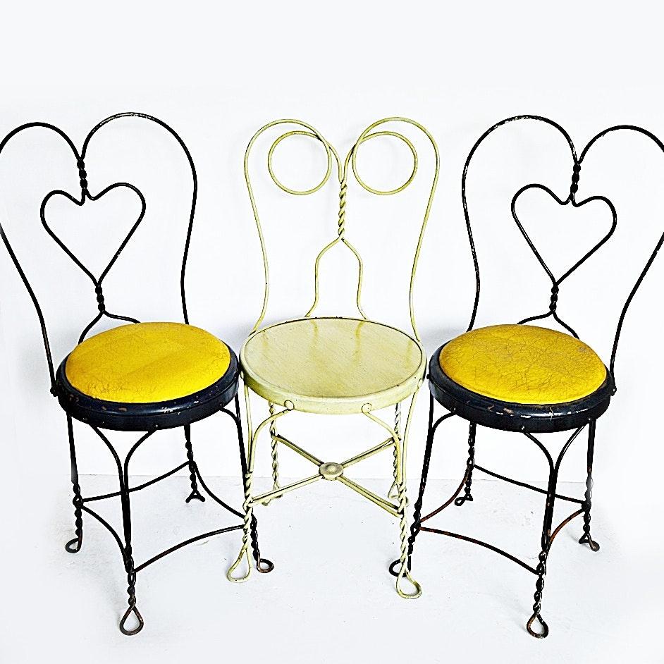 Three Antique Wire Ice Cream Chairs ...