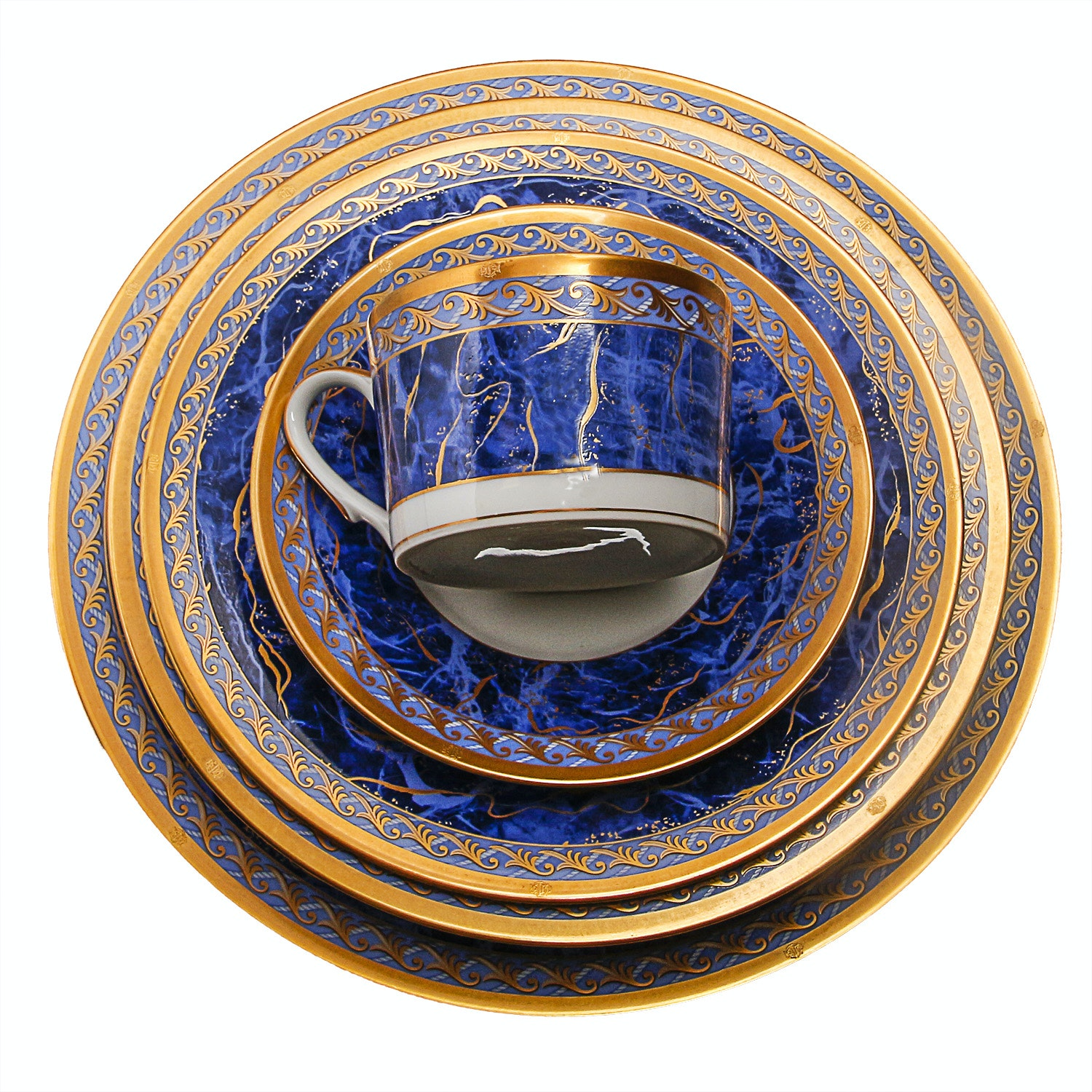 "Set of Christian Dior Dinnerware in the ""Azure Royale"" Pattern"